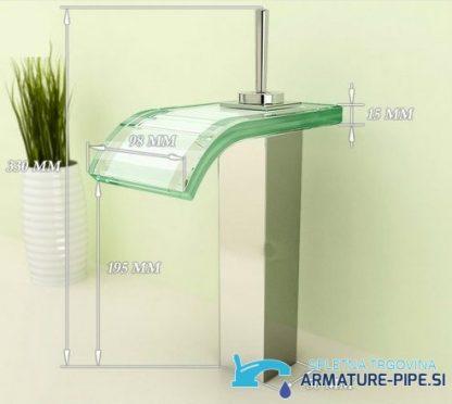 Kopalniška armatura za umivalnik s stilom slapa, pritrjena na pult
