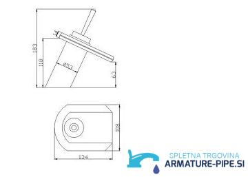 LED armatura za kopalnico EYN CM0224 - zaobljena slap kopalniška pipa - mere