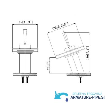 LED pipa za kopalnico EYN MF161 - sodobna kopalniška armatura - mere