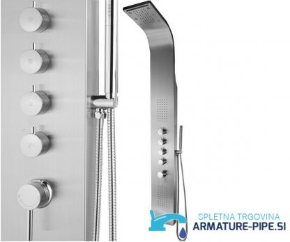 Luksuzni LED nadometni tuš panel z masažnimi šobami iz aluminija