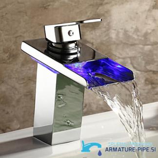 LED pipa za kopalnico EYN MF97 - kopalniška armatura z odprtim slapom - modra