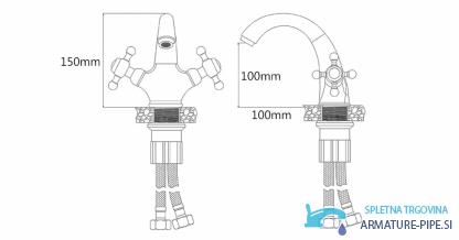 Anticna Rustikalna Armatura Za Umivalnik Pipa Eyn Ru1305
