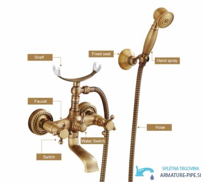 Anticna Rustikalna Armatura Za Kad Pipa Eyn Kaq1305 3